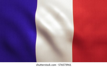 French flag background with fabric texture.