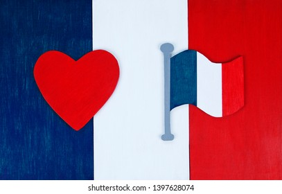 French flag background, with flag icon and love heart for France - in tricolor colors, for French culture & lifestyle, with space for text / design.