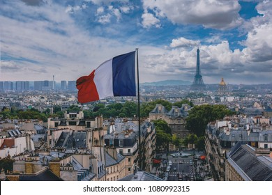French flag and Eiffel Tower in Paris