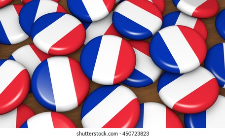 French flag on badges background for France national day events, holiday and celebration 3D illustration.