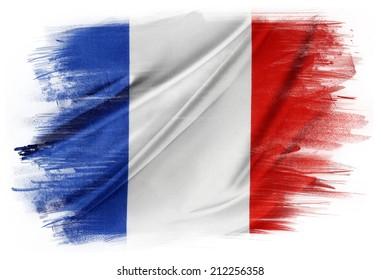 French flag on plain background