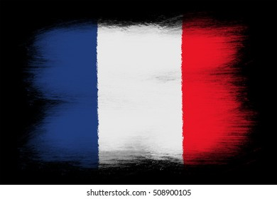 The French flag - Painted grunge flag, brush strokes. Isolated on black background.