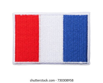 French Flag Patch Isolated on a White Background.