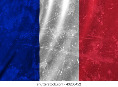 French flag waving in the wind with some folds
