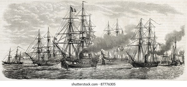 French fleet in China leaving Tche-fou towards Pe-thang under command of vice-admiral Charner. Created by Lebreton, published on L'Illustration, Journal Universel, Paris, 1860