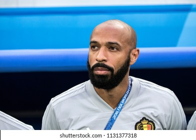 French football legend and Belgium national football team coach Thierry Henry before a 1/2 final football match at World Cup 2018 France-Belgium. Saint-Petersburg Stadium, 10th of July, 2018.