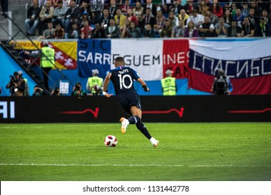 French footballer Kylian Mbappé with a ball during a 1/2 final football match at World Cup 2018 France-Belgium. Saint-Petersburg Stadium, 10th of July, 2018.