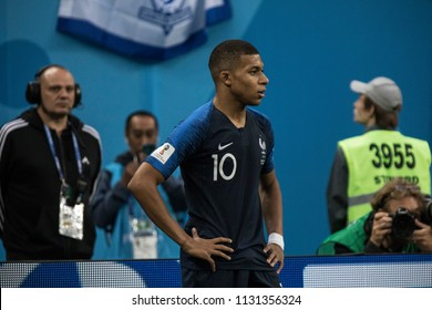 French footballer Kylian Mbappé during a 1/2 final football match at World Cup 2018 France-Belgium. Saint-Petersburg Stadium, 10th of July, 2018.
