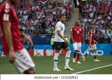 "French footballer Kylian Mbappe (in the centre)  during a France-Denmark football game at 2018 World Cup. ""Luzhniki"" Stadium, Moscow. June 26, 2018."