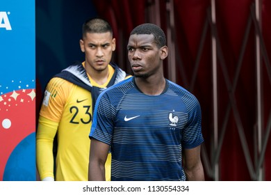 "French footballer Paul Pogba before France-Denmark football game at 2018 World Cup. ""Luzhniki"" Stadium, Moscow. June 26, 2018."