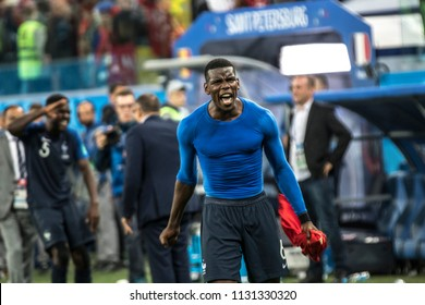 French footballer Paul Pogba celebrates victory. 1/2 final football match at World Cup 2018 France-Belgium. Saint-Petersburg Stadium, 10th of July, 2018.