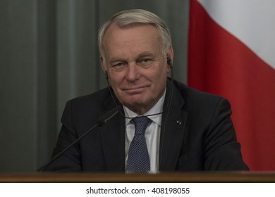 French Foreign Minister Jean-Marc Ayrault during a joint press conference with Russian Foreign Minister Sergey Lavrov in Moscow, Russia, on April 19, 2016.