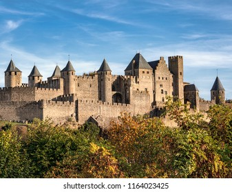 French fortified city of Carcassonne. Occitanie region. Department of Aude. Southern France. Europe