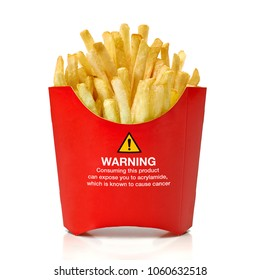 French fries with acrylamide warning sign isolated on white background