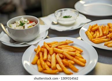 French fries and Balkan salad