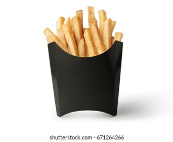 French fries in a black box isolated on white background