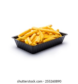 french fries in a black shell on white background
