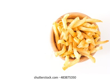 French fries in bowl. Top view with copy space