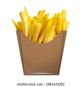 French fries in a brown kraft paper box isolated on a white background. Front view. French fries in a paper wrapper.