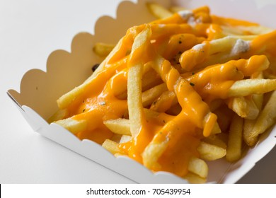 french fries with cheese on white background