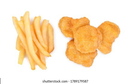French fries and Chicken nuggets isolated on white background. Top view