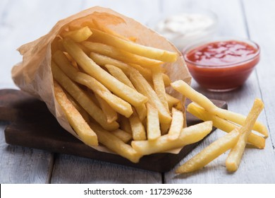 French fries, deep fried potato chips with ketchup and mayonnaise