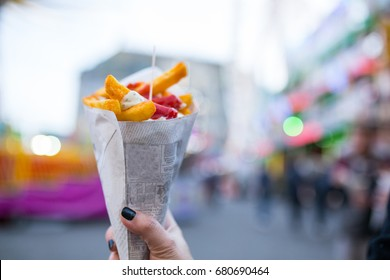 French fries food desert for eating on the street in Amsterdam ,netherland