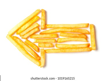 French fries in the form of the arrow to left isolated on white background