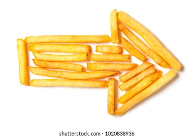 French fries in the form of the arrow to the right isolated on white background