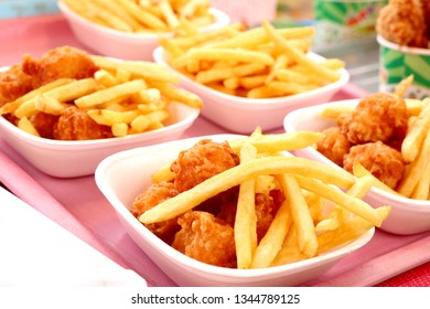 French fries and fried nuggets in market