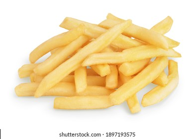 French fries or fried potatoes isolated on white background with clipping path and full depth of field