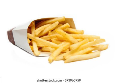 French fries Or it fry In a container, placed on a white background.