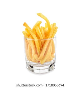 French fries in a glass isolated on white background.