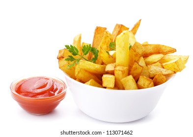 French fries with ketchup closeup isolated over white