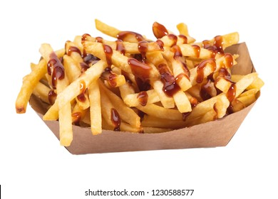 French fries with ketchup in white tray isolated on white background