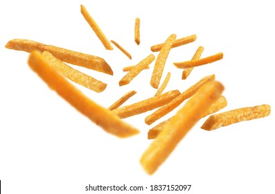 French fries levitate on a white background