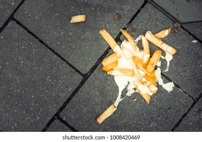 French fries lying on the street