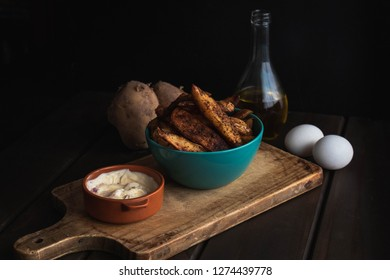 french fries with mayonnaise front view dark food