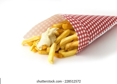 French fries with mayonnaise in red and white patterned paper bag (in Dutch called 'puntzak') isolated on white background