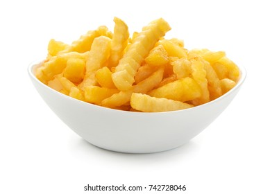 French fries on a plate, isolated on white background