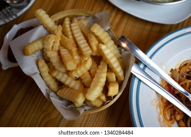 French fries On the table in the restaurant