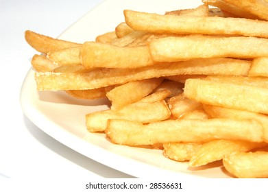 the french fries on white background