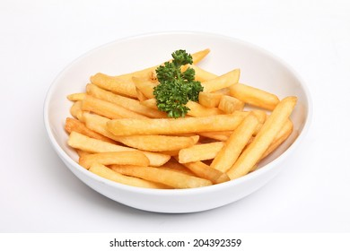 French fries on a white plate on a white background isolated