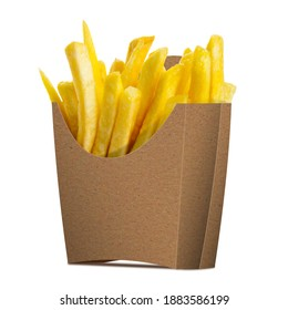 French Fries in a paper wrapper on white background. Half Side View.