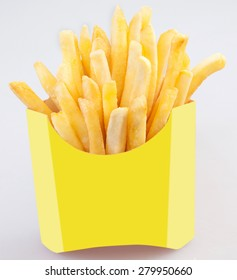 French fries in a paper wrapper on white background, Potato fries