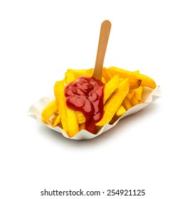 french fries pommes with ketchup and fork in a shell isolated on white