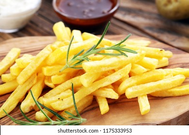 french fries potato with ketchup and mayonnaise
