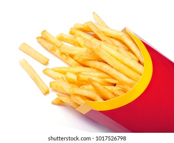 French fries in red carton package box isolated on white background