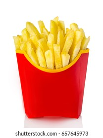 French fries in red fry box on white background