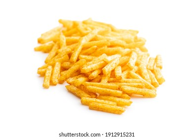 French fries. Salted snack. Potato chips isolated on white background.